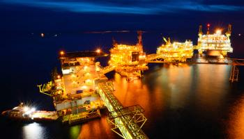 oilrig at night